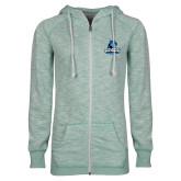 ENZA Ladies Seaglass Marled Full Zip Hoodie-Primary Logo