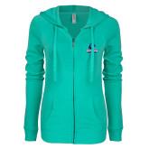 ENZA Ladies Seaglass Light Weight Fleece Full Zip Hoodie-Primary Logo