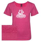 Ladies Dark Fuchsia Heather Tri-Blend Lace Tee-Primary Logo