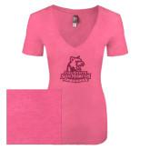 Next Level Ladies Vintage Pink Tri Blend V-Neck Tee-Primary Logo Hot Pink Glitter