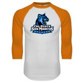 White/Orange Raglan Baseball T Shirt-Primary Logo