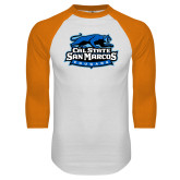 White/Orange Raglan Baseball T Shirt-Secondary Logo