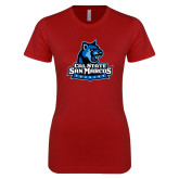 Next Level Ladies SoftStyle Junior Fitted Cardinal Tee-Primary Logo