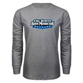Grey Long Sleeve T Shirt-Tertiary Logo