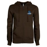 ENZA Ladies Brown Fleece Full Zip Hoodie-Primary Logo
