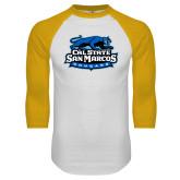 White/Gold Raglan Baseball T Shirt-Secondary Logo