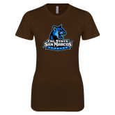Next Level Ladies SoftStyle Junior Fitted Dark Chocolate Tee-Primary Logo