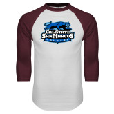 White/Maroon Raglan Baseball T Shirt-Secondary Logo