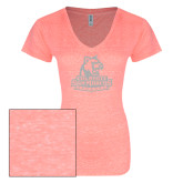 ENZA Ladies Coral Melange V Neck Tee-Primary Logo White Soft Glitter
