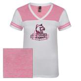 Ladies White/Bright Pink Juniors Varsity V Neck Tee-Primary Logo