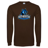 Brown Long Sleeve T Shirt-Primary Logo