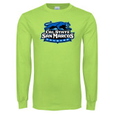 Lime Green Long Sleeve T Shirt-Secondary Logo