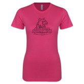 Next Level Ladies SoftStyle Junior Fitted Fuchsia Tee-Primary Logo Hot Pink Glitter