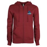 ENZA Ladies Maroon Fleece Full Zip Hoodie-Primary Logo