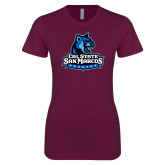Next Level Ladies SoftStyle Junior Fitted Maroon Tee-Primary Logo