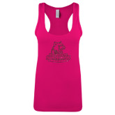 Next Level Ladies Raspberry Ideal Racerback Tank-Primary Logo Hot Pink Glitter
