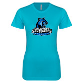 Next Level Ladies SoftStyle Junior Fitted Ice Blue Tee-Primary Logo