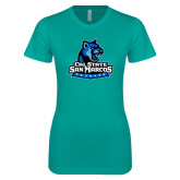 Next Level Ladies SoftStyle Junior Fitted Tahiti Blue Tee-Primary Logo