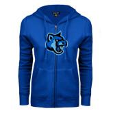 ENZA Ladies Royal Fleece Full Zip Hoodie-Cougar Head