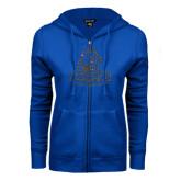 ENZA Ladies Royal Fleece Full Zip Hoodie-Primary Logo Graphite Soft Glitter