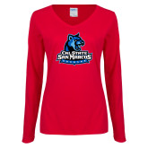 Ladies Red Long Sleeve V Neck Tee-Primary Logo