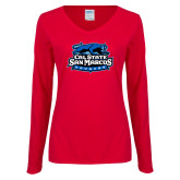 Ladies Red Long Sleeve V Neck Tee-Secondary Logo