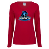 Ladies Cardinal Long Sleeve V Neck Tee-Primary Logo