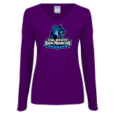 Ladies Purple Long Sleeve V Neck Tee-Primary Logo