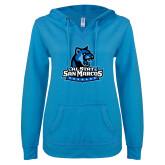 ENZA Ladies Pacific Blue V Notch Raw Edge Fleece Hoodie-Primary Logo
