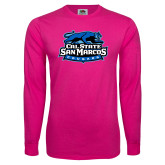 Cyber Pink Long Sleeve T Shirt-Secondary Logo