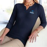 Ladies V Notch Navy 3/4 Sleeve Shirt-Primary Logo