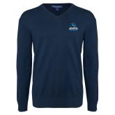 Classic Mens V Neck Navy Sweater-Primary Logo
