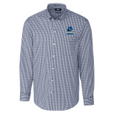 Cutter & Buck Navy Stretch Gingham Long Sleeve Shirt-Primary Logo