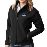 Ladies DRI DUCK Contour Black Softshell Jacket-Primary Logo