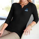 Ladies V Notch Black 3/4 Sleeve Shirt-Primary Logo
