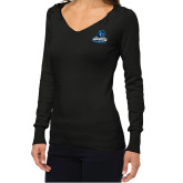 Ladies Fuse Black V Neck Sweater-Primary Logo