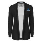 Ladies Black Open Front Cardigan-Primary Logo
