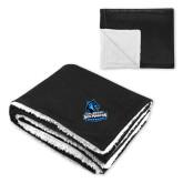Super Soft Luxurious Black Sherpa Throw Blanket-Primary Logo