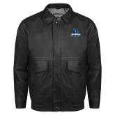 Black Leather Bomber Jacket-Primary Logo
