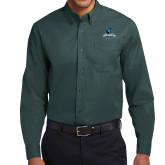 Dark Green Twill Button Down Long Sleeve-Primary Logo
