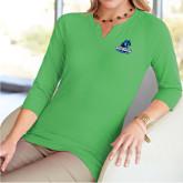 Ladies V Notch Fresh Green 3/4 Sleeve Shirt-Primary Logo