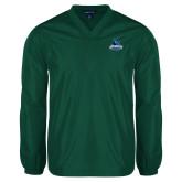 V Neck Dark Green Raglan Windshirt-Primary Logo