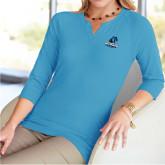 Ladies V Notch Light Blue 3/4 Sleeve Shirt-Primary Logo