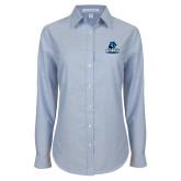 Ladies Light Blue Oxford Shirt-Primary Logo