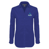 Ladies Red House Diamond Dobby Royal Long Sleeve Shirt-Primary Logo