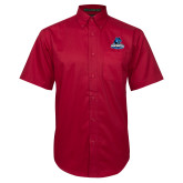Red Twill Button Down Short Sleeve-Primary Logo