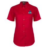 Ladies Red Twill Button Up Short Sleeve-Primary Logo