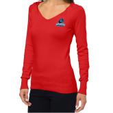 Ladies Fuse Red V Neck Sweater-Primary Logo