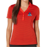 Ladies Callaway Core Stripe Red/Black Polo-Primary Logo