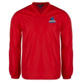 V Neck Red Raglan Windshirt-Primary Logo